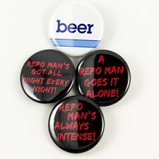 Repo Man Quotes & Beer Logo - pinback buttons sci-fi cult punk 80s movie classic