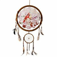 "13"" Cardinal Bird Flower Scene Dream Catcher Wall Hang Feathers Gift Pretty 1383"