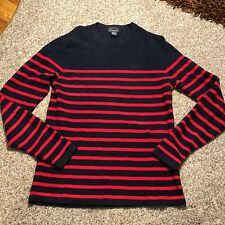 H&M Premium Cotton Mens Blue And Red Striped Sweater Size Medium Ships Free