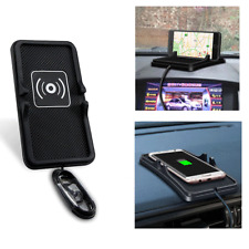 2in1 Qi Wireless Charger Car Dashboard Phone Holder Mount Non-Slip Mat UK