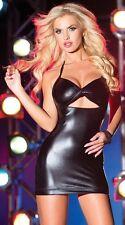 PVC Dress Black new sexy wet look PVC clubwear, mini dress one size M