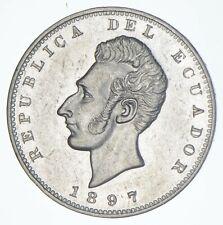 SILVER - WORLD COIN - 1897 Ecuador 1 Sucre - World Silver Coin *501