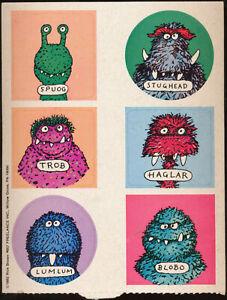 1982 6 Alien Nerd Stickers Sheet by Rick Brown Freelance Inc Trob Spoug Haglar ?