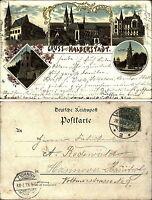 HALBERSTADT Litho-AK 1898 ua. Krieger-Denkmal, Kreishaus (nach Hainholz gelauf.)