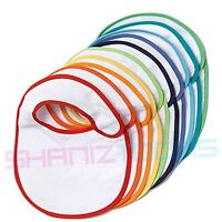20 White Plain Baby Bibs (Coloured Rim) Job Lot Bulk Buy Wholesale