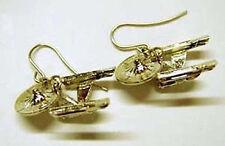 Star Trek 1701-A  Enterprise Gold Earrings 1 inch-Pierced- FREE S&H (STJW-066-E)