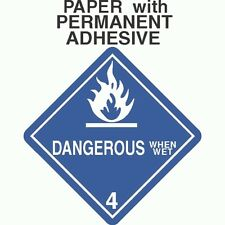 Dangerous When Wet Class 4.3 Paper Labels D.O.T. 4X4 (ROLL OF 500)