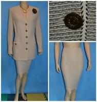 St John Collection Knits Brown Cream Jacket Skirt L 12 14 2pc Suit Trims Shimmer