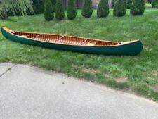 Vintage Shell Lake Wood and Canvas Canoe