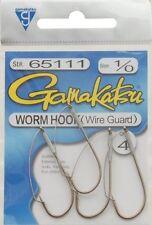 Gamakatsu Worm Hook Size 1/0 Bass Weed Guard Qty. 3 # 65111 NIP NEW