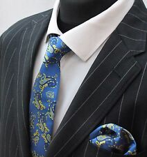 Tie Cravatta Con Fazzoletto Blu & Giallo Paisley