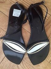 New, Robert Clergerie Black Leather Sandals Size US 6,5