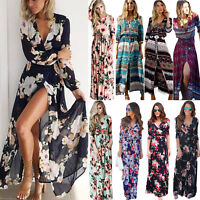 Plus Size Women Long Sleeve Maxi Dress Boho Floral Cocktail Party Beach Sundress