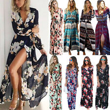 Women's Long Sleeve Maxi Dress Boho Floral Summer Party Beach Sundress Plus Size
