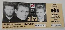 ticket billet UNUSED stub place concert  A-HA1991 PARIS