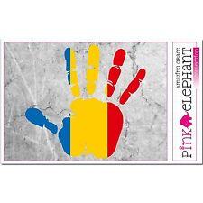 Aufkleber A4 - Rumänien - Hand - Fahne - bumper sticker car flag Flagge romania