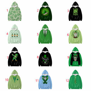 St Patricks Day Women Men Hooded Sweatshirt Casual Pullover Tops Fashion Clothes