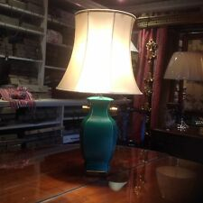 Emerald Green With Brass Mounts Chinese Lamp