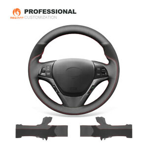 Black Genuine Leather Suede Car Steering Wheel Cover for Hyundai Genesis Coupe