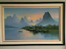 "NJ PICKUP ONLY - Framed ""Village at dusk"" H. Leung - NJ PICKUP ONLY"