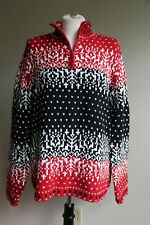 Coldwater Creek L Red Black White Fair Isle 1/4 Zip Cotton Acrylic Knit Sweater