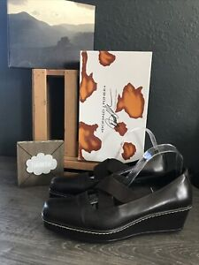 Details about  /Donald Pliner Couture Rosette Leather Hair Calf Wedge Shoe 10 11 Stud $325 New