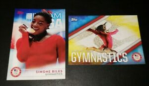 2016 TOPPS OLYMPICS SIMONE BILES ROOKIE CARD LOT OF 2 BASE CARD 38 + INSERT RC