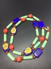 Miriam Haskell Egyptian Revival Turquoise Coral Color Glass Beaded Necklace