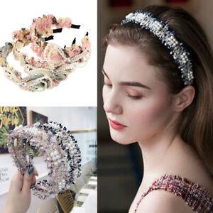 Women's Pearl Headband Hairband Bow Pleated Fabric Hair Band Hoop Accessories