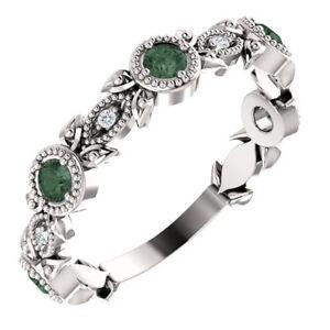 Genuine Alexandrite & .03 CTW Diamond Leaf Ring In Platinum