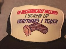 Vintage Mesh Trucker Hat I'm Mechanically Inclined I Screw Up Everything I Touch