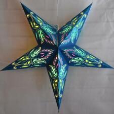 "24"" Blue / Turquoise Lotus Glitter Paper Star Lantern, Hanging Decoration"