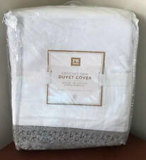 Pottery Barn Teen Crochet Trim TWIN Duvet Cover ~ Light Gray