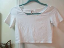 H&M Divided  White Stretchy Knit Short Top  Size S - S/Sleeves - Cotton/Elastane