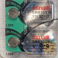 2- Maxell 371 -1 Battery SR920SW  SR920W Authorized Seller Exp.. 2024 USA Ship.
