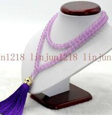 8mm Tibet Buddhist 108 Purple Alexandrite Gemstone Prayer Beads Mala Necklace