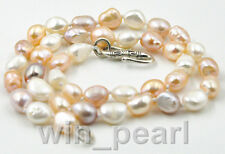 """New 8-9mm multicolour baroque freshwater cultured pearl Necklace 17"""" Tibet clasp"""