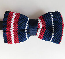 Knitted bow tie striped red white blue multi-coloured size 12-20 NEW in box