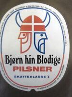WIIBROE BJORN HIN BLODGIE PILSENER RETRO DANISH BEER LABELVIKING