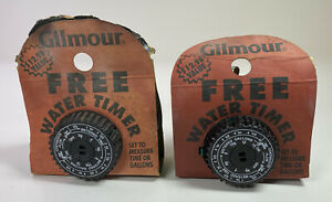 2 Vintage Gilmour Water Timer Measures Time or Gallons Auto Shut Off Made in USA