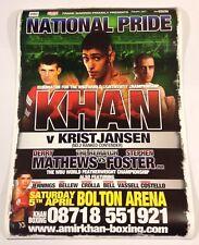 Amir Khan v Martin Kristjansen Signed 2008 Poster Bolton Arena Boxing Autograph