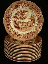 "J & G Meakin Romantic England Pink Transfer Penshurst Place Plate 7"""