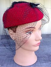 Vintage Doefelt PillBox Red Feather Black Netting Wool Stone Bollman Hat *WoW*