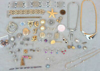 Bag Mixed Ladies Jewelry Parts Pieces AS IS broken repair Lot Estate Drawer ZL