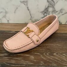 LOUIS VUITTON Pink Pebbled Leather Gold LV Logo Moccasin Loafers - US 10