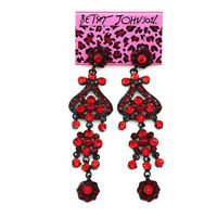 Women's Fashion Crystal Rhinestone Long Dangle Earbob Betsey Johnson Earrings