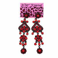 Women's Fashion Crystal Rhinestone Long Dangle Earbob Betsey Johnson Earrings