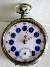 GOUSSET POCKET WATCH ECLIPSE CYLINDRE 10 RUBIS EMAIL ENAMEL SOLID SILVER