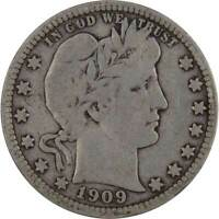 1909 D Barber Quarter VG Very Good 90% Silver 25c US Type Coin Collectible