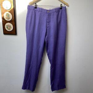 Ralph Lauren Purple Label Italy Made Mens 100% Linen Purple Pants Size 34 X 32